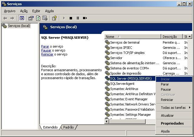 Erro 1060 ao acessar o controller - Porta sql server ...